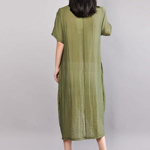 boutique cotton sundress plus size Embroidery Summer Casual Short Sleeve Green Dress