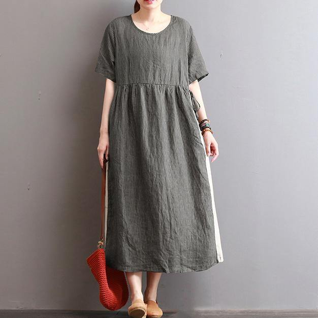 boutique dark gray striped long linen dresses casual patchwork linen maxi dress Elegant caftans