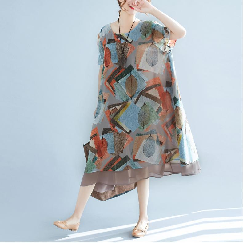 boutique floral chiffon dresses trendy plus size shirt dress2018o neck big hem knee dresses