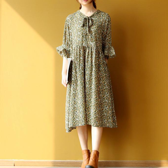 boutique floral l chiffon shift dress oversize chiffon dress New half sleeve o neck natural chiffon dress