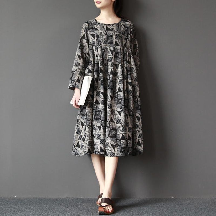 boutique gray prints linen dress Loose fitting long sleeve cotton dress casual o neck linen dresses