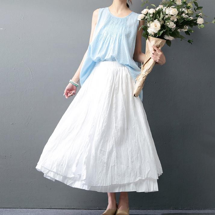 boutique light blue Midi-length cotton t shirt Loose fitting casual cardigans Elegant sleeveless jacquard cotton t shirt