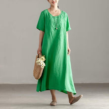 Load image into Gallery viewer, boutique linen caftans oversize Casual Slit Short Sleeve Embroidery Summer Green Dress