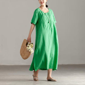 boutique linen caftans oversize Casual Slit Short Sleeve Embroidery Summer Green Dress