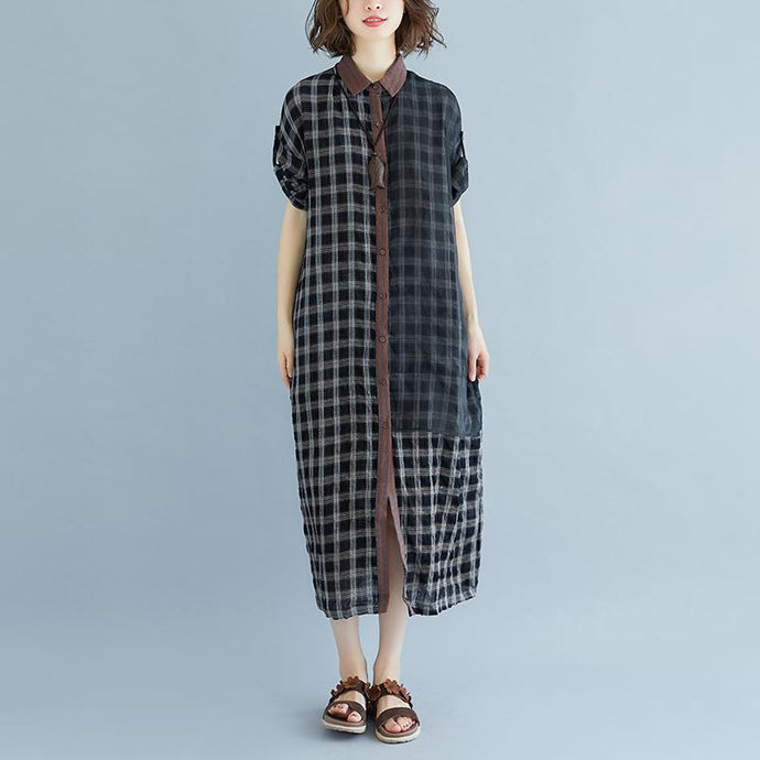 boutique linen summer dress Loose fitting Plaid Pocket Summer Casual Polo Neck Long Dress