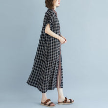 Load image into Gallery viewer, boutique linen summer dress Loose fitting Plaid Pocket Summer Casual Polo Neck Long Dress