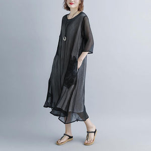 boutique long cotton dress oversized Summer Fake Two-piece Black Pockets Retro Dress