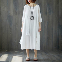 Load image into Gallery viewer, boutique maxi dress stylish Short Sleeve Summer Casual White Fake Two-piece Long Dress