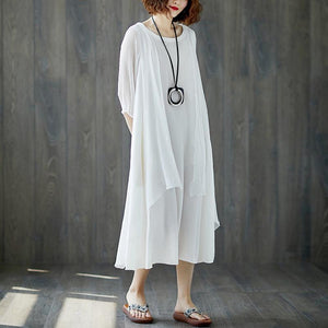 boutique maxi dress stylish Short Sleeve Summer Casual White Fake Two-piece Long Dress