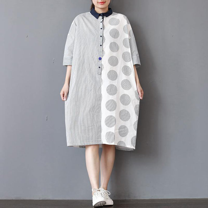 boutique patchwork Midi cotton dresses oversized traveling clothing casual half sleeve lapel collar dress