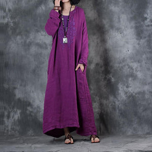 boutique purple long linen dress plus size clothing embroidery gown women long sleeve kaftans