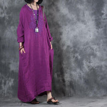 Laden Sie das Bild in den Galerie-Viewer, boutique purple long linen dress plus size clothing embroidery gown women long sleeve kaftans