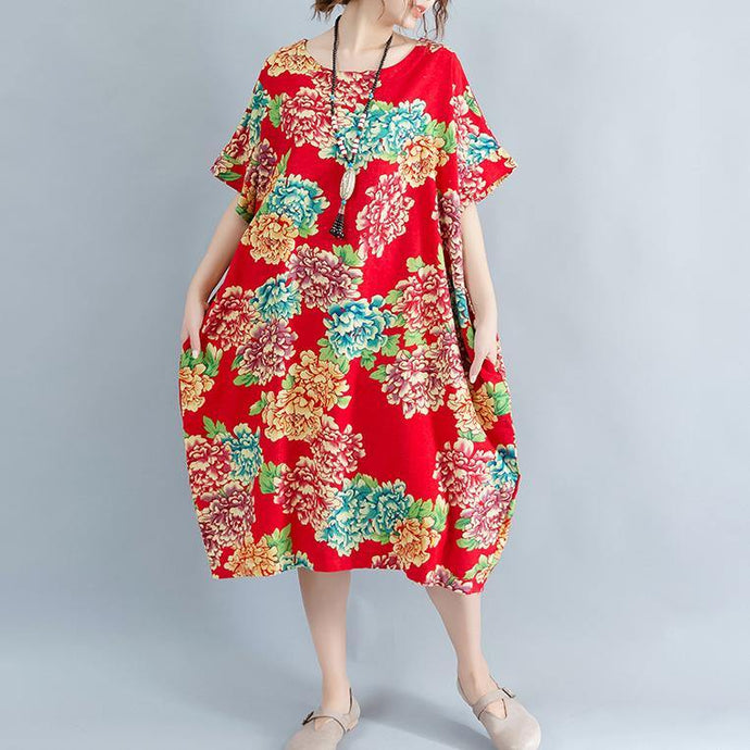 boutique red floral Midi-length linen dress plus size linen clothing dresses casual o neck short sleeve linen cotton dress