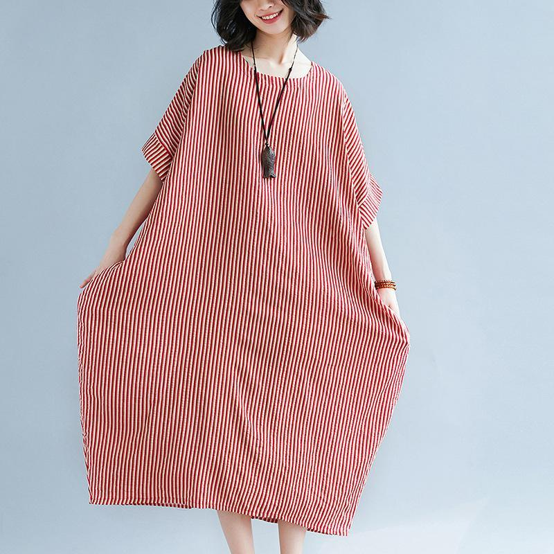 boutique red striped  linen dresses trendy plus size o neck gown New short sleeve linen caftans