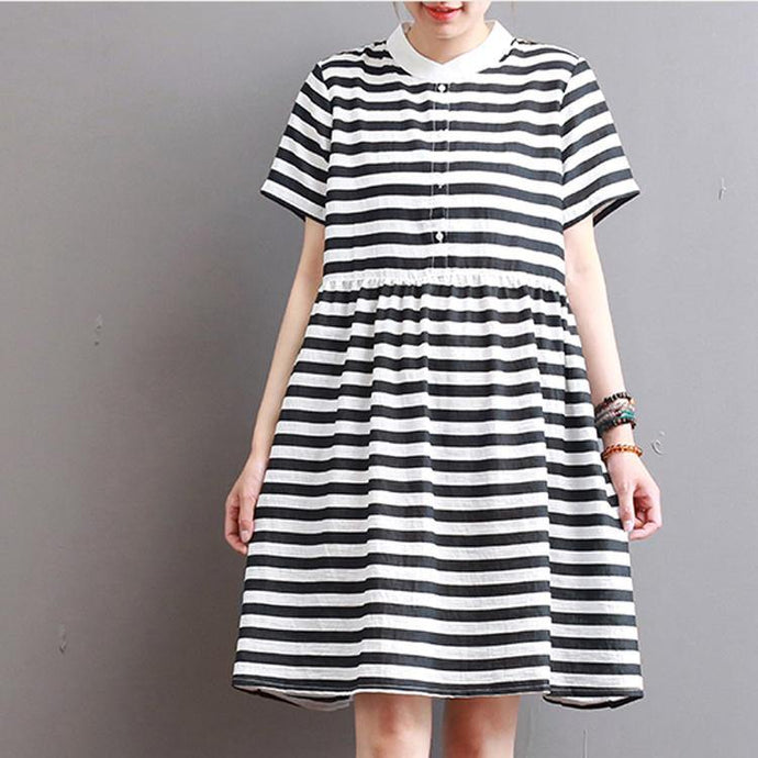 boutique striped linen dress Loose fitting casual dress Fine patchwork o neck short sleeve natural linen dress