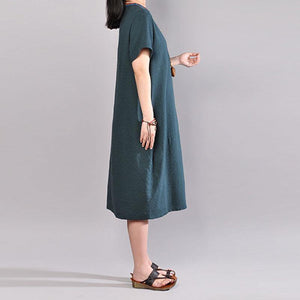 boutique summer dress oversize Casual Embroidered V Neck Dark Green Short Sleeve Dress