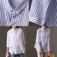 Load image into Gallery viewer, boutique white natural cotton t shirt plus size cotton clothing blouses Fine bracelet sleeved striped cotton clothing