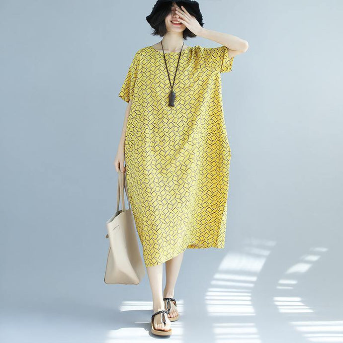 boutique yellow asymmetric plaid pure linen dresses   trendy plus size linen cotton dress New o neck short sleeve linen cotton dress