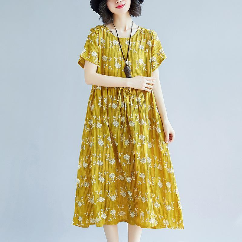 boutique yellow print  natural cotton dress  plus size short sleeve dress vintage tie waist dresses