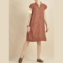 Load image into Gallery viewer, brick red cotton sundress linen shift dress