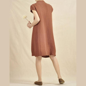 brick red cotton sundress linen shift dress