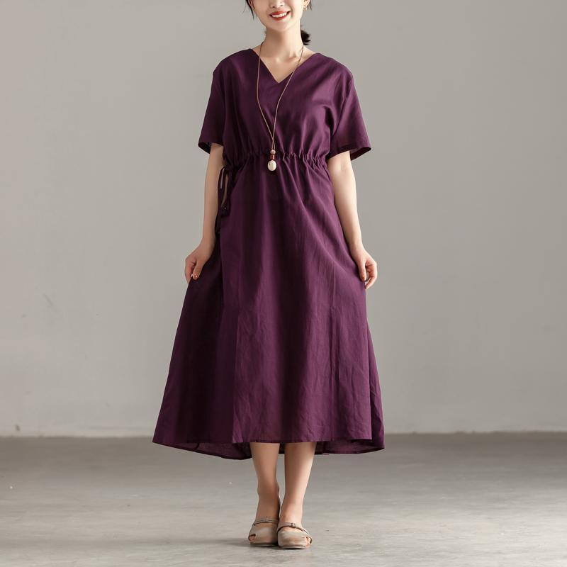 brief cotton dresses plus size Women V Neck Short Sleeve Lacing Purple Dress