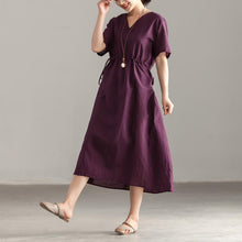 Load image into Gallery viewer, brief cotton dresses plus size Women V Neck Short Sleeve Lacing Purple Dress