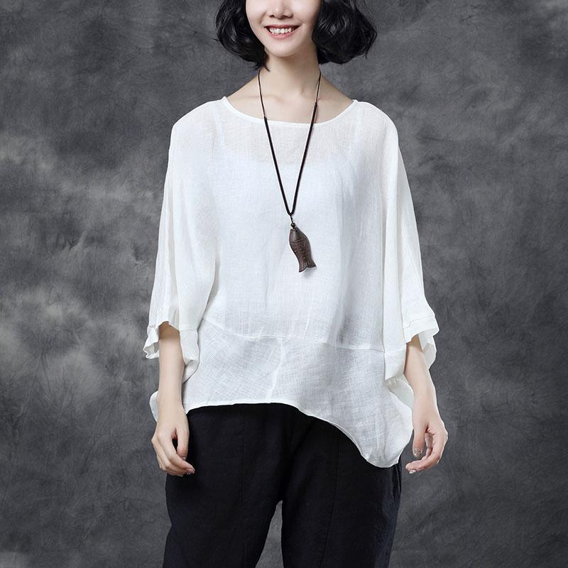 brief cotton linen blouse oversized Women Short Sleeve White Casual Summer Blouse