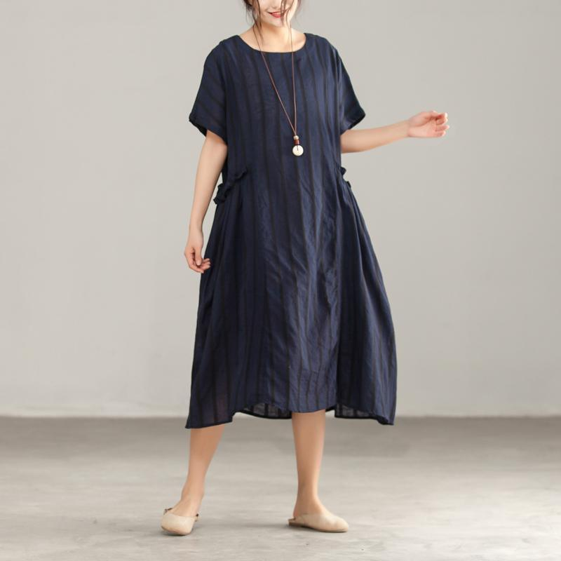 brief cotton linen dresses trendy plus size Stripe Round Neck Shoulder Sleeve Cotton Linen Dress