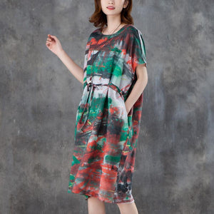 brief linen blended summer dress plus size Women Short Sleeve Printed Pleated Lacing Dress