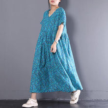 Load image into Gallery viewer, brief linen dress plus size clothing Linen Blue Flower V-Neck Short Sleeve Printing Dress