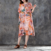 Load image into Gallery viewer, brief linen shift dress Loose fitting Women Linen Casual Short Sleeve Printed Dress