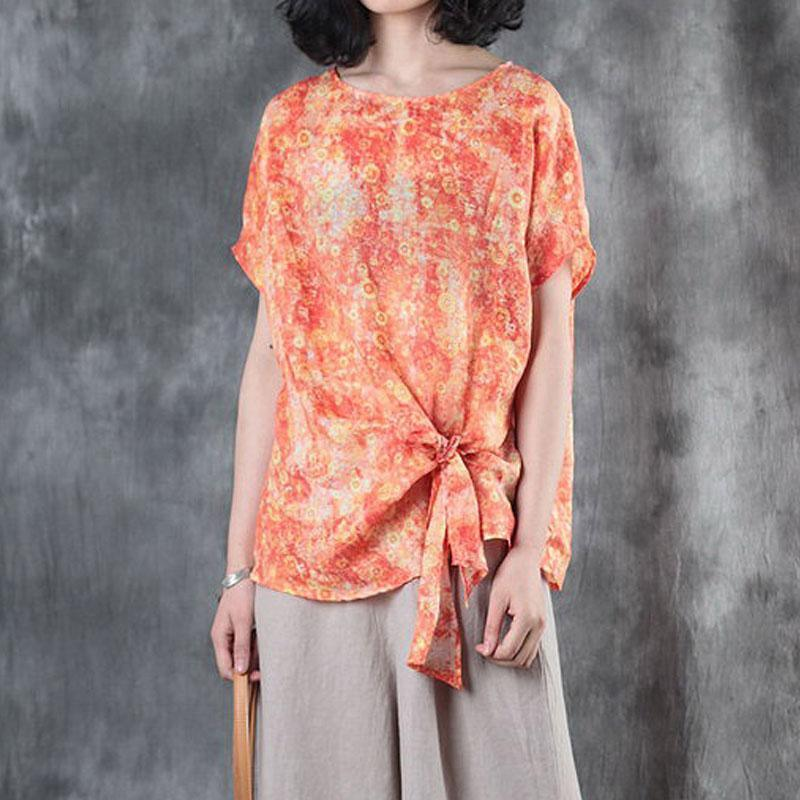 brief linen tops plus size Women Short Sleeve Printed Lacing Orange Tops