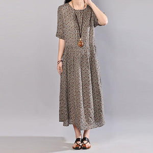 brief long cotton dresses plus size Women Floral Printed Short Sleeve Pullover Dress