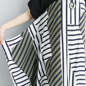 brief natural cotton dress Loose fitting Women Stripe Splicing Loose Short Sleeve Dress
