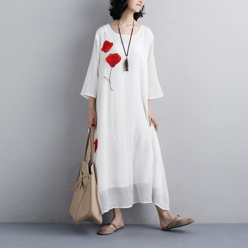brief natural silk blended dress oversized Women Flower Embroidery Three Quarter Sleeve White Dress