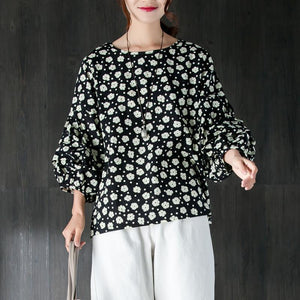 brief pure cotton blouse plus size clothing Women Casual Long Sleeve Flower Black Tops