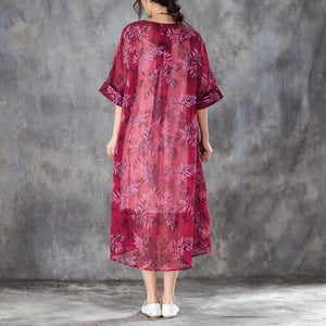 brief silk linen dresses trendy plus size Women Round Neck Half Sleeve Printed Red Dress