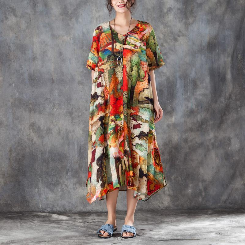 brief silk linen summer dress plus size clothing Women Colorful Printed Side Split Dress with Double Pockets