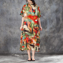Load image into Gallery viewer, brief silk linen summer dress plus size clothing Women Colorful Printed Side Split Dress with Double Pockets