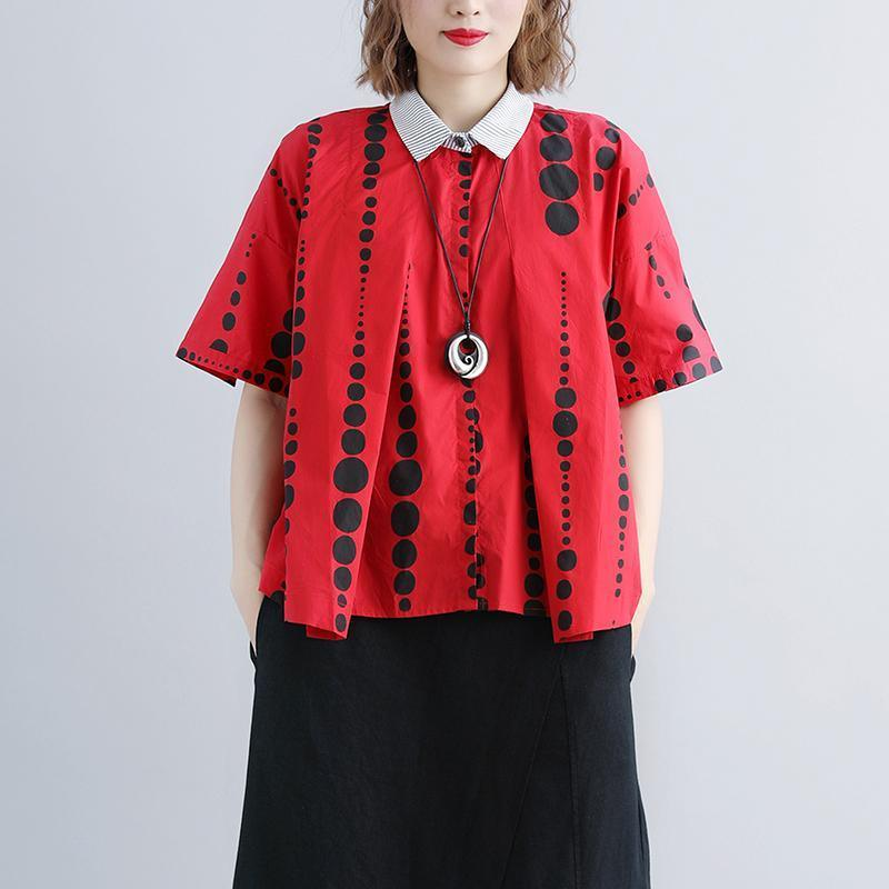 brief summer cotton tops oversize Women Polo Neck Casual Summer Short Sleeve Dots Red Blouse