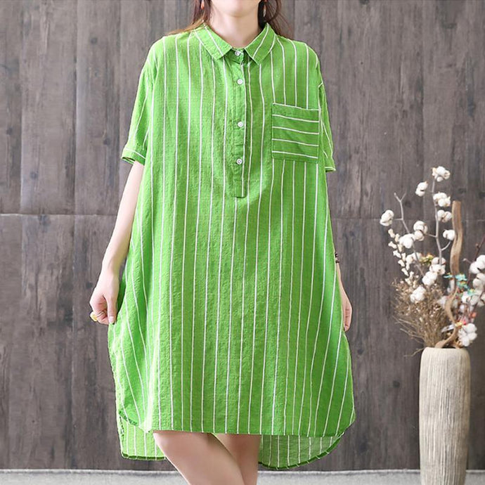 brief summer dress trendy plus size Stripe Green Summer Loose Polo Neck High low Hem Dress