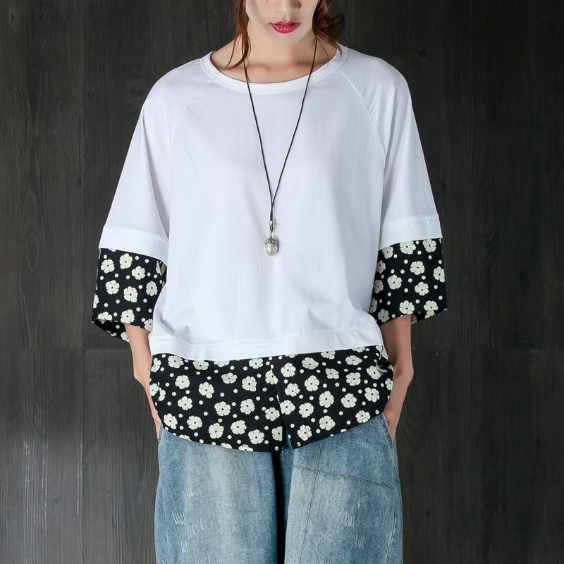 brief summer t shirt plus size Women Casual Summer Fake Two-piece Flower White Tops