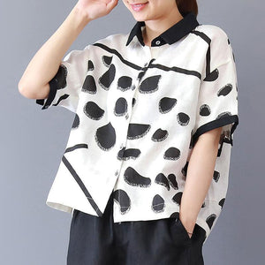 brief summer t shirt plus size clothing Summer Dots Short Sleeve polo Neck Loose White Blouse