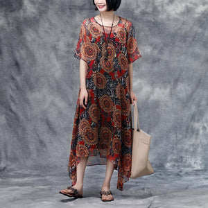 brief beach dress Elegant Summer Floral Short Sleeve Casual Two-Piece Dress