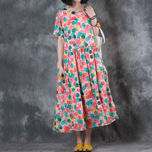 brief dress plus size clothing Colorful Dots Printed Short Sleeve Ramie Pleated Dress