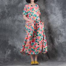Load image into Gallery viewer, brief dress plus size clothing Colorful Dots Printed Short Sleeve Ramie Pleated Dress