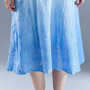 brief  holiday dress Elegant Summer Flower  Fake Two-piece Retro Blue Embroidery Dress