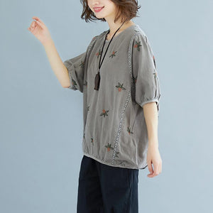 brief  linen cotton tops plus size Flower Embroidery Summer Short Sleeve Blouse