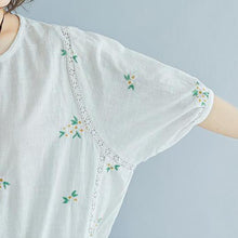 Load image into Gallery viewer, brief  linen cotton tops plus size Flower Embroidery Summer Short Sleeve Blouse